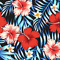 Hibiscus Red And Palm Leaves Blue by Berry2046
