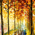 Hidden Path - Palette Knife Oil Painting On Canvas By Leonid Afremov by Leonid Afremov