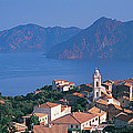 High Angle View Of A Town At The Coast by Panoramic Images