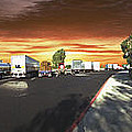 Highway Truck Stop Sunset Panorama by David Zanzinger
