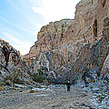Hiker In Big Painted Canyons Trail In Mecca Hills-ca by Ruth Hager