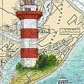 Hilton Head Island Lighthouse Sc Nautical Chart Map Art Cathy Peek by Cathy Peek