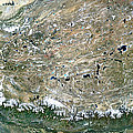 Himalaya Mountains Asia True Colour Satellite Image  by Anonymous