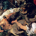 Hippopotamus And Crocodile Hunt, C.1615-16 Oil On Canvas Detail See Also 156517 by Peter Paul Rubens