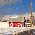 Historic Red Barn On A Snowy Winter Day by Louise Heusinkveld