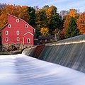 Historic Red Mill At Fall Clinton New Jersey by George Oze