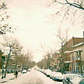Hiver Psc Winter In The Point Snowy Day Paintings Montreal Art Cityscenes Brick Houses Snowed In by Carole Spandau