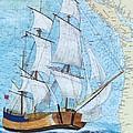 Hms Endeavour Tall Sailing Ship Chart Map Art Peek by Cathy Peek
