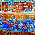 Hockey Art Collectible Cards And Prints Snowy Day  Neighborhood Rinks Verdun Montreal Art C Spandau by Carole Spandau