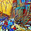Hockey Art Montreal Winter Scene Winding Staircases Kids Playing Street Hockey Painting  by Carole Spandau