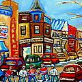 Hockey Art Montreal Winter Street Scene Painting Chez Vito Boucherie And Fairmount Bagel by Carole Spandau