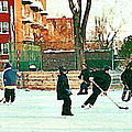 Hockey Art Shimmy Game Local Rink Montreal Paintings Winter Street Scene Verdun Art Carole Spandau by Carole Spandau