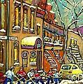 Hockey Game Near Bagg Street Synagogue Montreal Winter Street Scene Painting By Carole Spandau by Carole Spandau