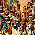 Hockey Game Near Winding Staircases Montreal Streetscene by Carole Spandau