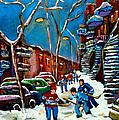 Hockey Game On De Bullion Montreal City Scene by Carole Spandau