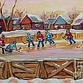 Hockey Game-outdoor Hockey -beautiful Canadian Winter Landscape-hockey Heroes-carole Spandau by Carole Spandau