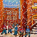 Hockey In The Laneway On Snowy Day Paintings Of Montreal Streets In Winter Carole Spandau by Carole Spandau