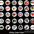 Hockey League Logos Bottle Caps by Barbara Griffin