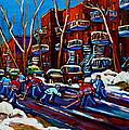 Hockey On De Bullion Montreal by Carole Spandau