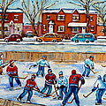 Hockey Rink At Van Horne Montreal by Carole Spandau