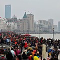 Holiday Crowds Throng The Bund In Shanghai China by Imran Ahmed