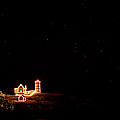 Holiday Lights At Nubble Light by Jeff Sinon