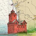Holland Harbor Lighthouse Mi Nautical Chart Map Art by Cathy Peek