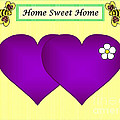 Home Sweet Home Purple Hearts 1 by Geraldine Cote