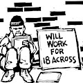 Homeless Man With Sign That Reads: Will Work by Drew Dernavich