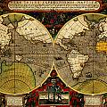 Hondius Map Of The World 1595 by MotionAge Designs