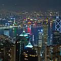 Hong Kong Night Scene by Marek Poplawski