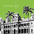 Honolulu Skyline Iolani Palace - Olive by DB Artist