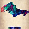 Honolulu Watercolor Map by Naxart Studio