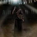 Hooded Man Holding Glowing Wizard Staff  by Jaroslaw Blaminsky