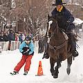 Horse And Skier Slalom Race by Daniel Hebard