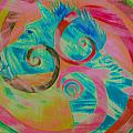 Horse And Spirals In Pink by Kristin Darnell