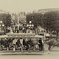 Horse And Trolley Main Street Disneyland Heirloom by Thomas Woolworth