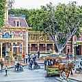 Horse And Trolley Turning Main Street Disneyland 01 by Thomas Woolworth