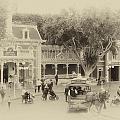 Horse And Trolley Turning Main Street Disneyland Heirloom by Thomas Woolworth