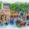 Horse And Trolley Turning Main Street Disneyland Photo Art 01 by Thomas Woolworth