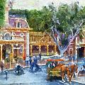 Horse And Trolley Turning Main Street Disneyland Photo Art 02 by Thomas Woolworth