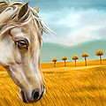 Horse At Yellow Paddy Field by Arun Sivaprasad