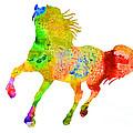 Horse Colorful Silhouette Art Print Watercolor Paintig by Joanna Szmerdt