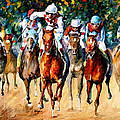 Horse Race - Palette Knife Oil Painting On Canvas By Leonid Afremov by Leonid Afremov