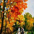 Horseback Stroll - Palette Knife Oil Painting On Canvas By Leonid Afremov by Leonid Afremov
