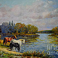 Horses Drinking From The River by Evgeny Malykh
