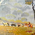 Horses Drinking In The Early Morning Mist by Pamela  Meredith