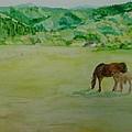 Horses Mare Foal Pastures Rural Landscape Original Art Oregon Western Artist K. Joann Russell by K Joann Russell