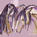 horses Purple pair by Go Van Kampen