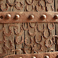 Horseshoes Decorate A Wooden Door, Jama by Inger Hogstrom